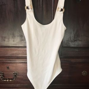 Abercrombie and Fitch white O-ring bodysuit